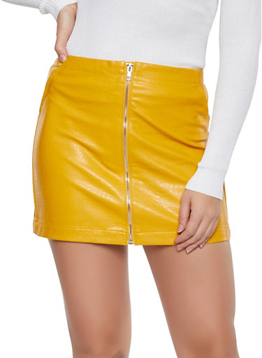 Faux Leather Zip Front Mini Skirt,MUSTARD,large