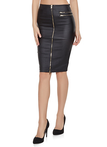 Coated Zip Up Pencil Skirt,BLACK,large