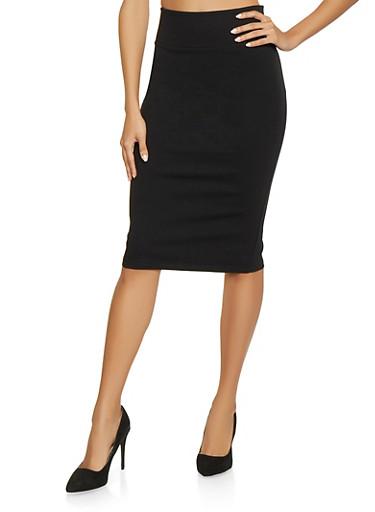 Ponte Knit Pencil Skirt   Black,BLACK,large
