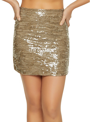 Sequin Mini Skirt,MOCHA,large