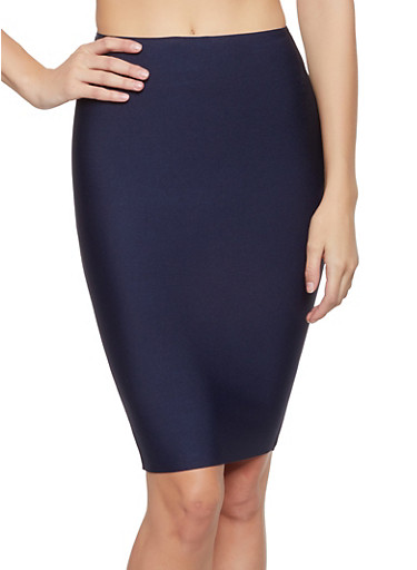 Solid Bandage Pencil Skirt,NAVY,large