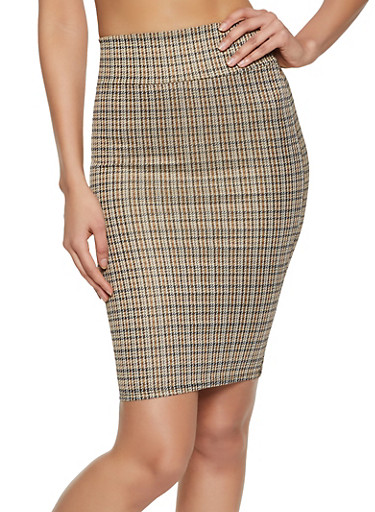 Midi Houndstooth Pencil Skirt,BROWN,large