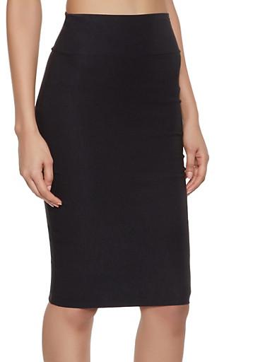 Stretch Pencil Skirt,BLACK,large