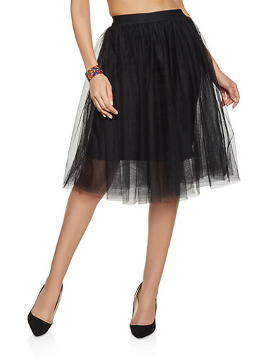 Tulle Skater Skirt,BLACK,large