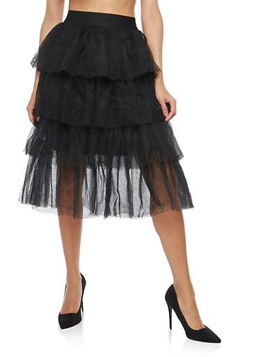 Tiered Tulle Mid Length Skirt,BLACK,large