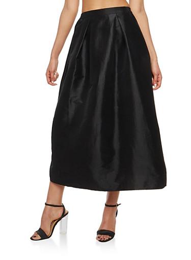 Pleated Taffeta Skirt,BLACK,large