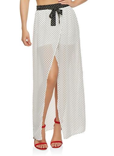 Polka Dot Tie Front Maxi Shorts,WHT-BLK,large