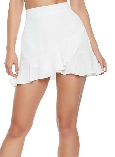Crepe Knit Ruffle Mini Skirt,WHITE,large