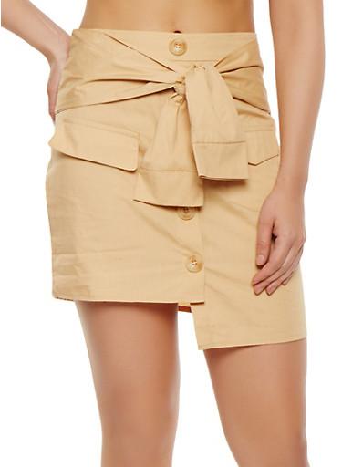 Button Detail Mini Skirt,KHAKI,large