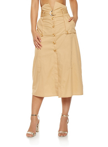 High Waisted Button Front Skirt,KHAKI,large