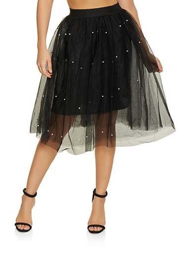 Faux Pearl Studded Tulle Skater Skirt,BLACK,large