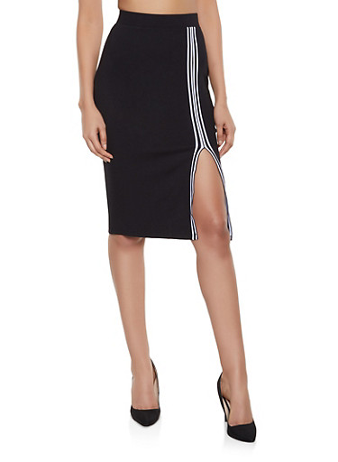 Striped Tape Front Slit Pencil Skirt,BLACK,large