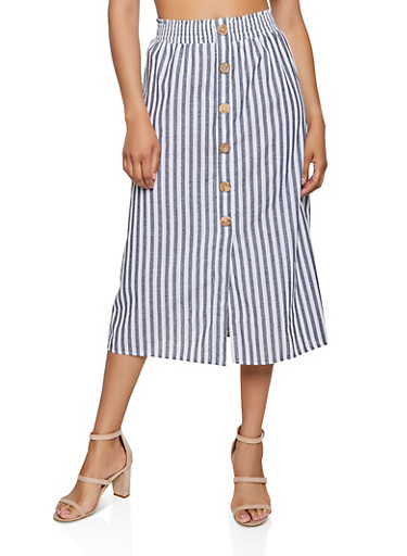 Striped Button Detail Midi Skirt,BLACK,large
