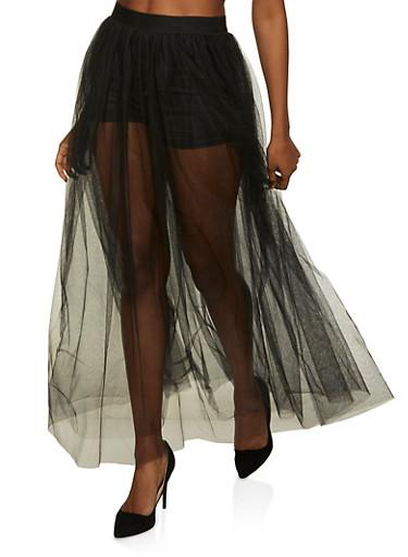 Tulle Maxi Skater Skirt,BLACK,large
