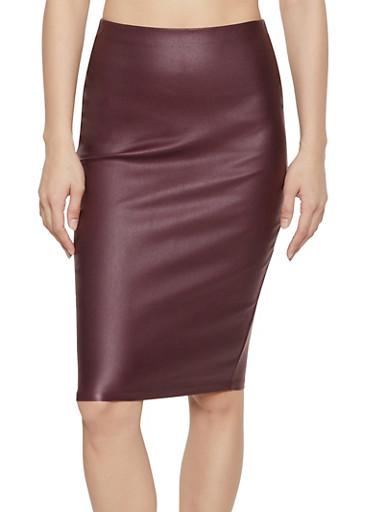 Coated Pencil Skirt,WINE,large
