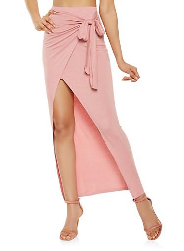 Solid Faux Wrap Maxi Skirt,MAUVE,large