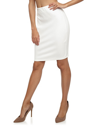 Ponte Pencil Skirt,IVORY,large
