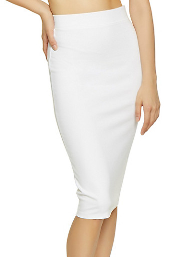 Solid Ponte Pencil Skirt,IVORY,large
