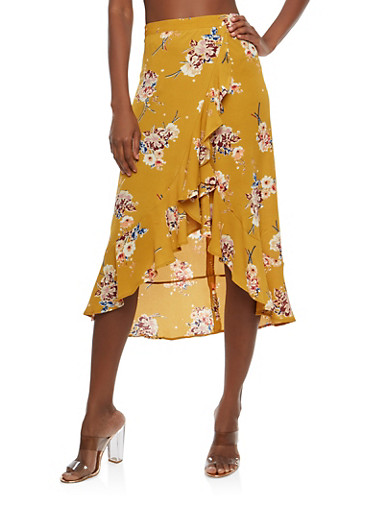 Floral Ruffle Faux Wrap Skirt,MUSTARD,large