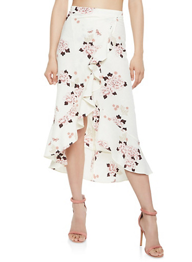 Printed Ruffle Faux Wrap Skirt,IVORY,large