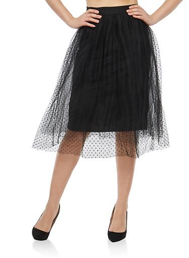 Velvet Polka Dot Mesh Skirt,BLACK,large