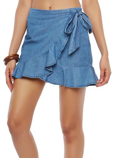 Chambray Wrap Skirt,MEDIUM WASH,large