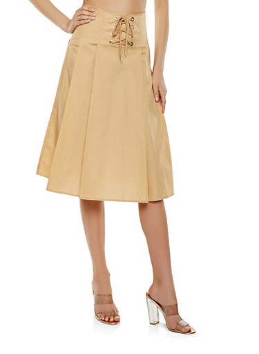 Pleated Lace Up Skirt,KHAKI,large