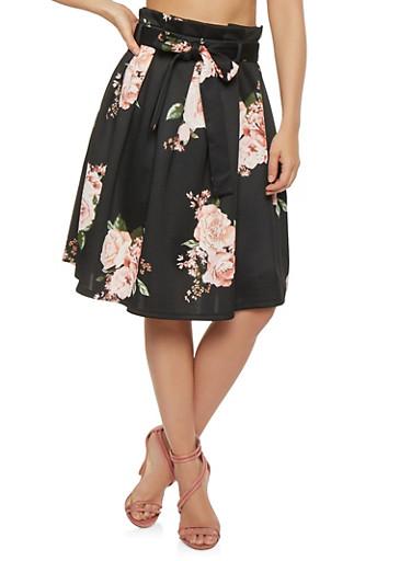 Pleated Floral Skater Skirt,BLACK,large