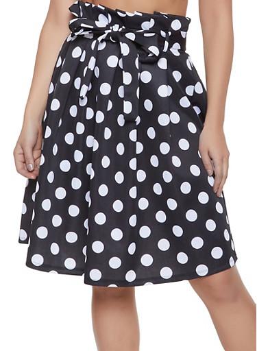 Polka Dot Paper Bag Waist Skater Skirt,BLACK/WHITE,large