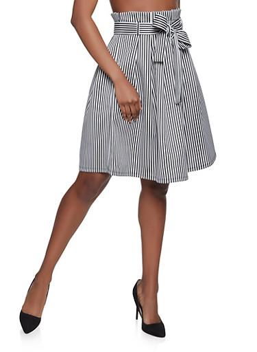 Striped Paper Bag Waist Skater Skirt,BLACK/WHITE,large