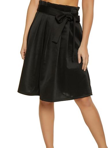 Paper Bag Waist Skater Skirt,BLACK,large