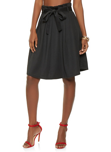 Scuba Midi Skater Skirt,BLACK,large