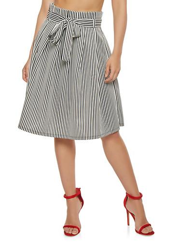 Striped Midi Skater Skirt,BLACK/WHITE,large