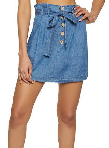 Chambray Mini Skirt,BLUE,large
