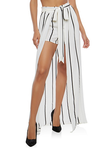 Striped Crepe Knit Shorts with Maxi Skirt Overlay,WHITE,large