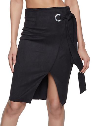 Faux Suede Side Tie Pencil Skirt,BLACK,large