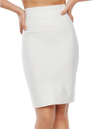 Bandage Pencil Skirt,IVORY,large