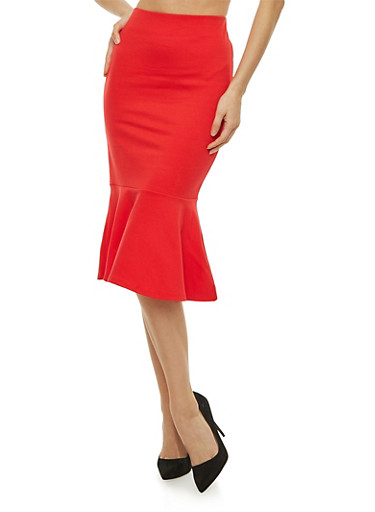 Ponte Pencil Skirt with Flounce Hem,ORANGE  RED,large