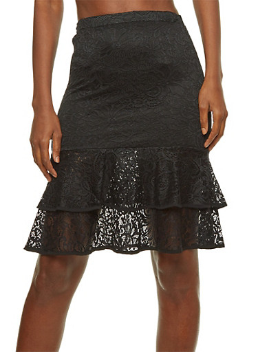 Lace Tiered Hem Pencil Skirt,BLACK,large
