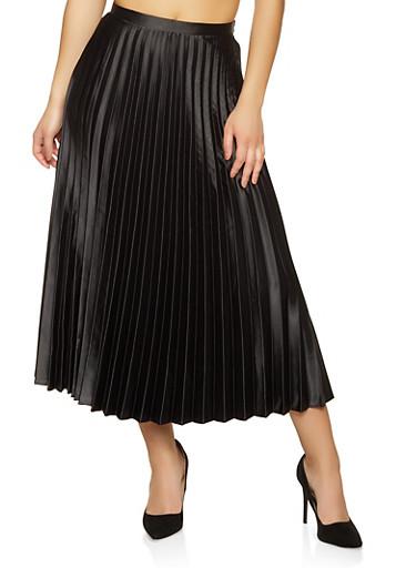 Pleated Satin Maxi Skirt,BLACK,large