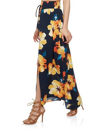 Floral Front Slit Maxi Skirt,NAVY,large