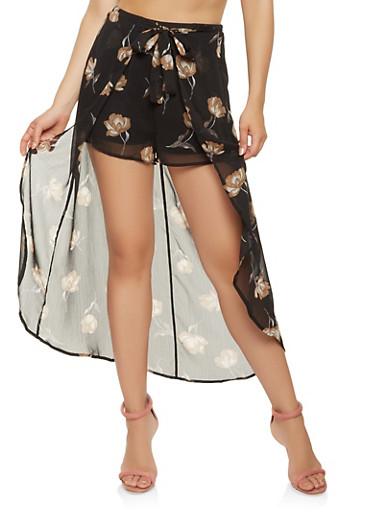 Floral Tie Front Maxi Shorts,BLACK,large