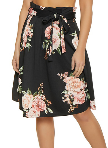 Floral Paper Bag Waist Skater Skirt,BLACK,large