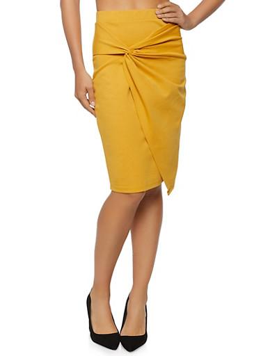 Twist Front Pencil Skirt,MUSTARD,large