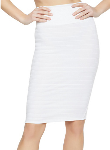 Bandage Pencil Skirt,WHITE,large
