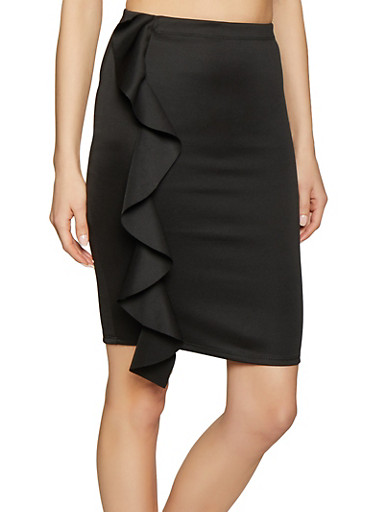 Ruffled Pencil Skirt,BLACK,large