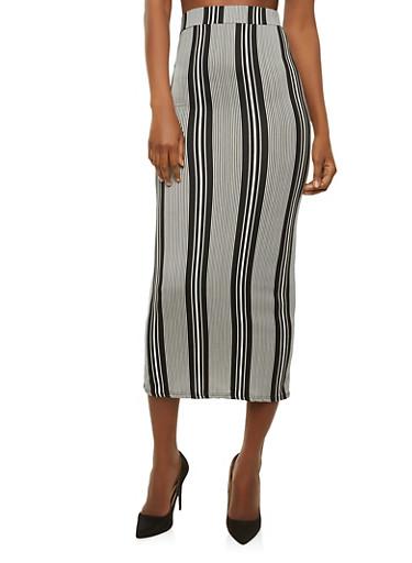 Soft Knit Striped Maxi Skirt,BLACK/WHITE,large