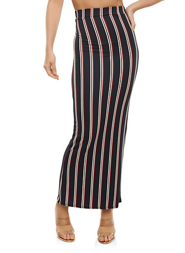 Soft Knit Striped Maxi Skirt,NAVY,large