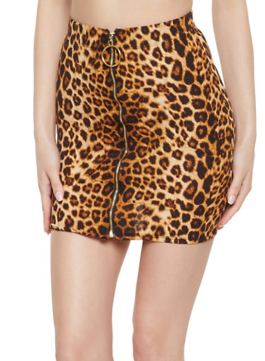 Zip Front Leopard Print Mini Skirt,BROWN,large
