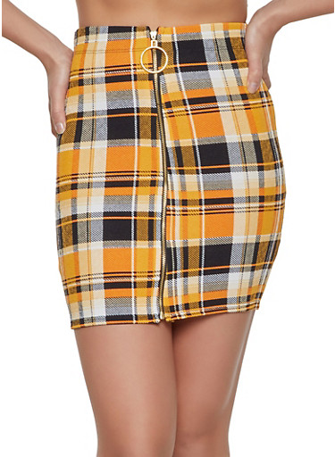 Plaid Zip Front Mini Skirt,MUSTARD,large